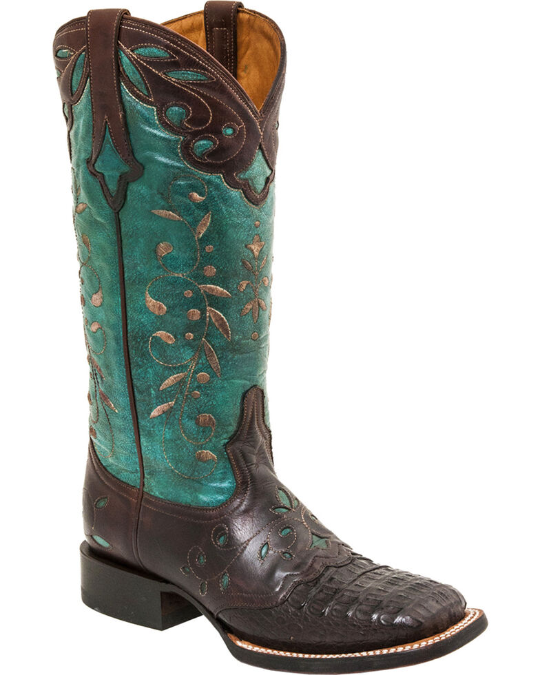Lucchese Women's Sherilyn Caiman Exotic Boots, Brown, hi-res