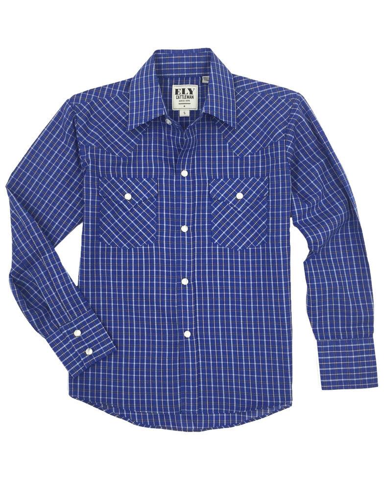 Ely Cattleman Toddler Boys' Blue Check Plaid Long Sleeve Western Shirt , Blue, hi-res