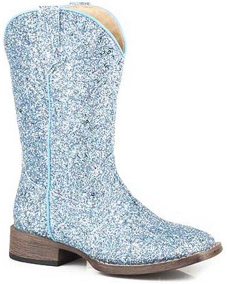 Roper Toddler Girls' Glitter Galore Western Boots - Square Toe, Blue, hi-res