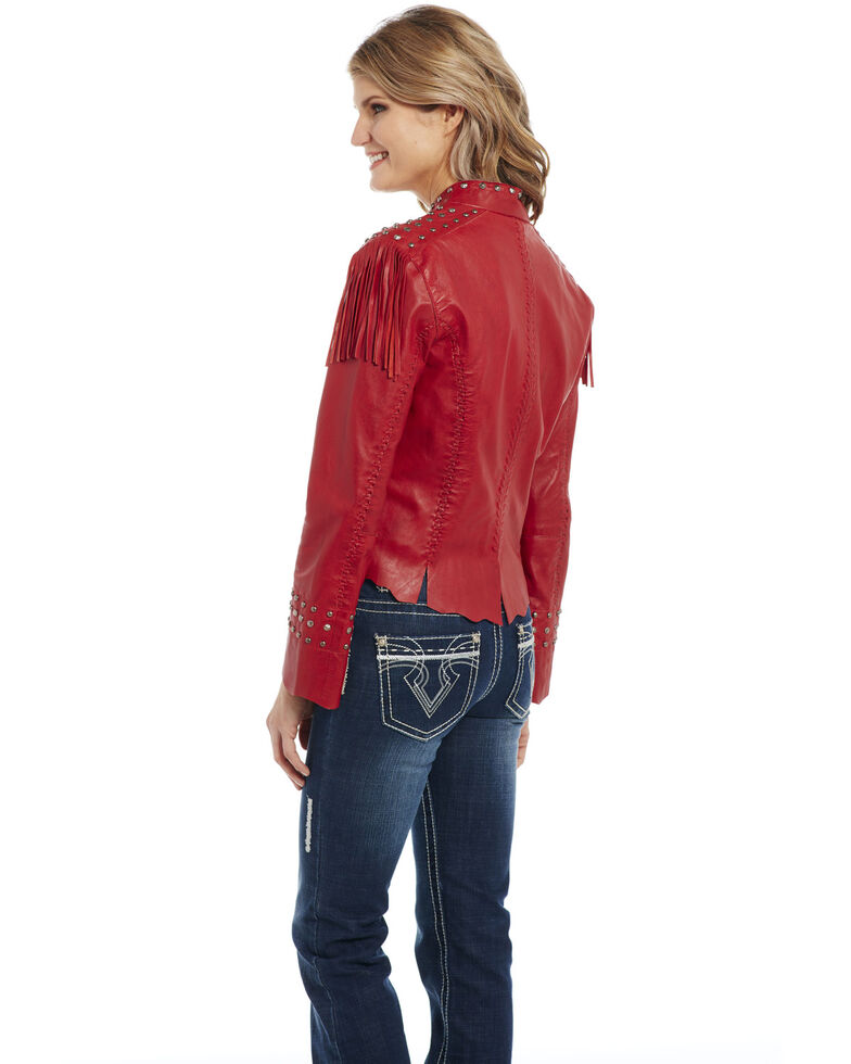 Cripple Creek Women's Antiqued Vintage Red Military Leather Jacket , Red, hi-res