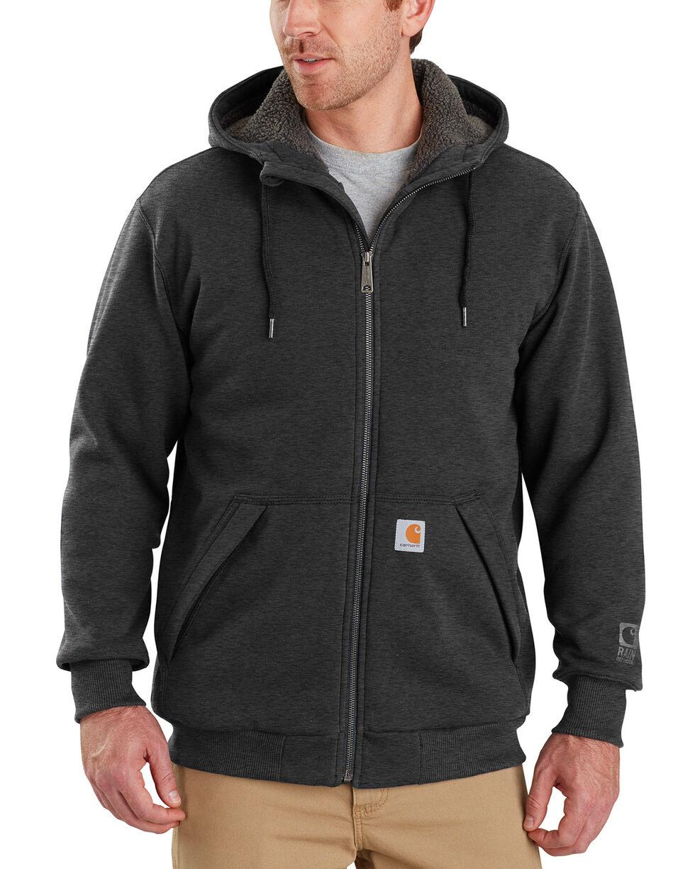 Carhartt Men's Rain Defender Rockland Sherpa-Lined Full-Zip Hoodie, Charcoal, hi-res