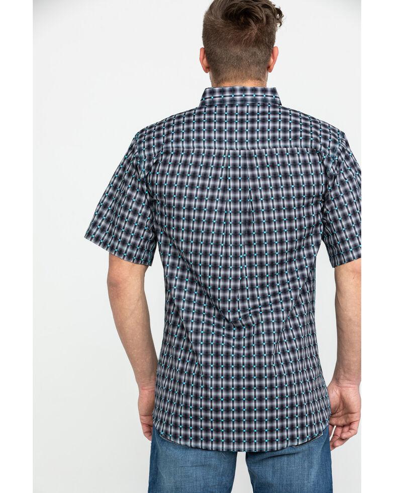 Cowboy Hardware Men's Jacquard Plaid Short Sleeve Western Shirt , Grey, hi-res