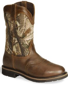Justin Men's Stampede Waterproof Work Boots, Camouflage, hi-res
