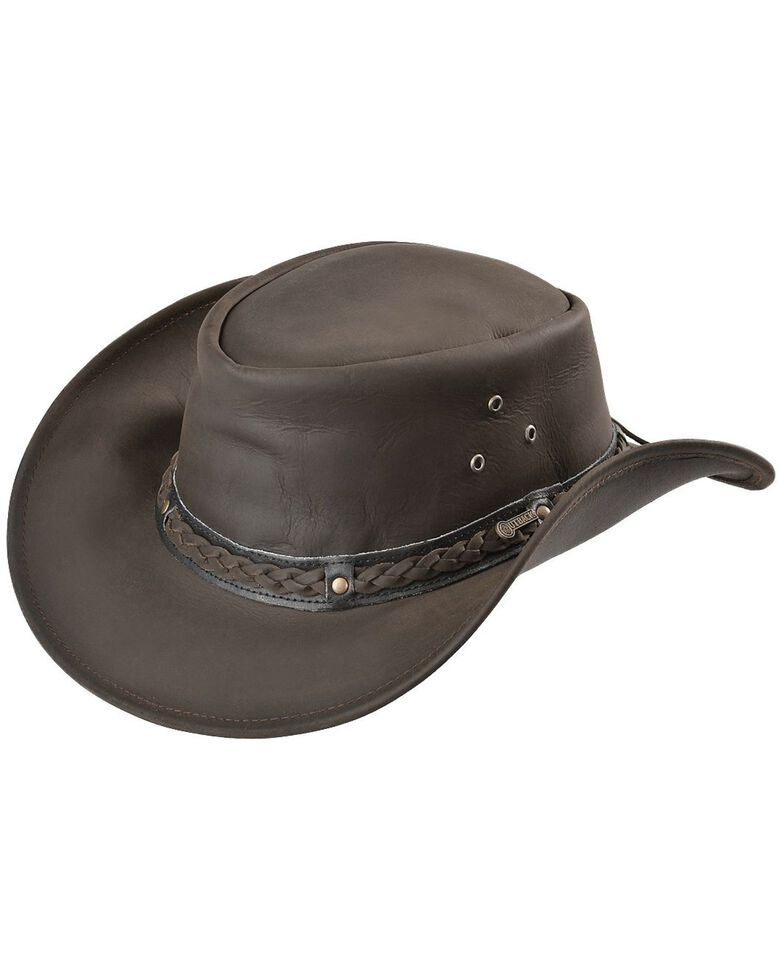 Outback Trading Men's Wagga Wagga Leather Hat, Chocolate, hi-res