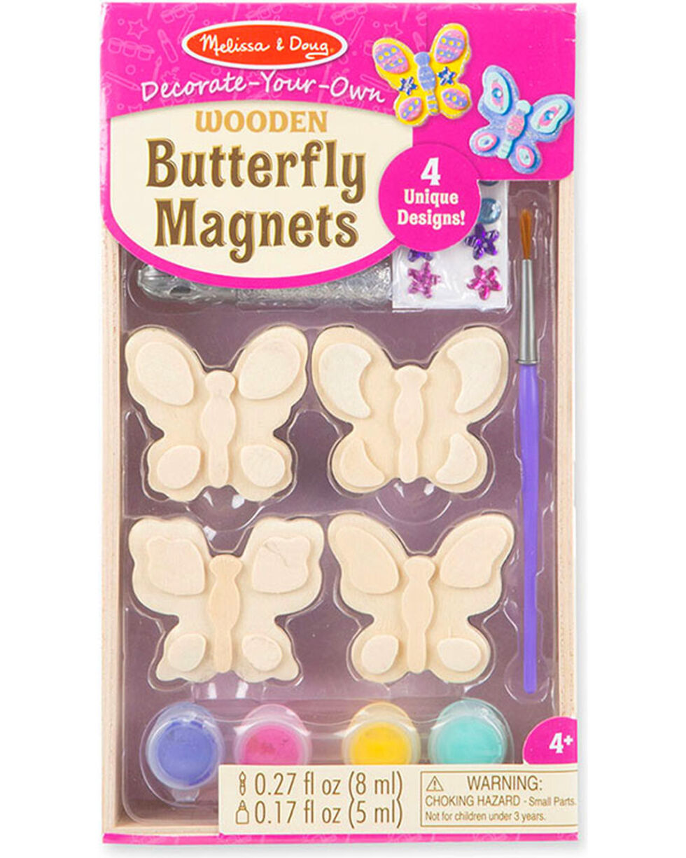 Melissa & Doug Kids' Decorate-Your-Own Wooden Butterfly Magnets , No Color, hi-res