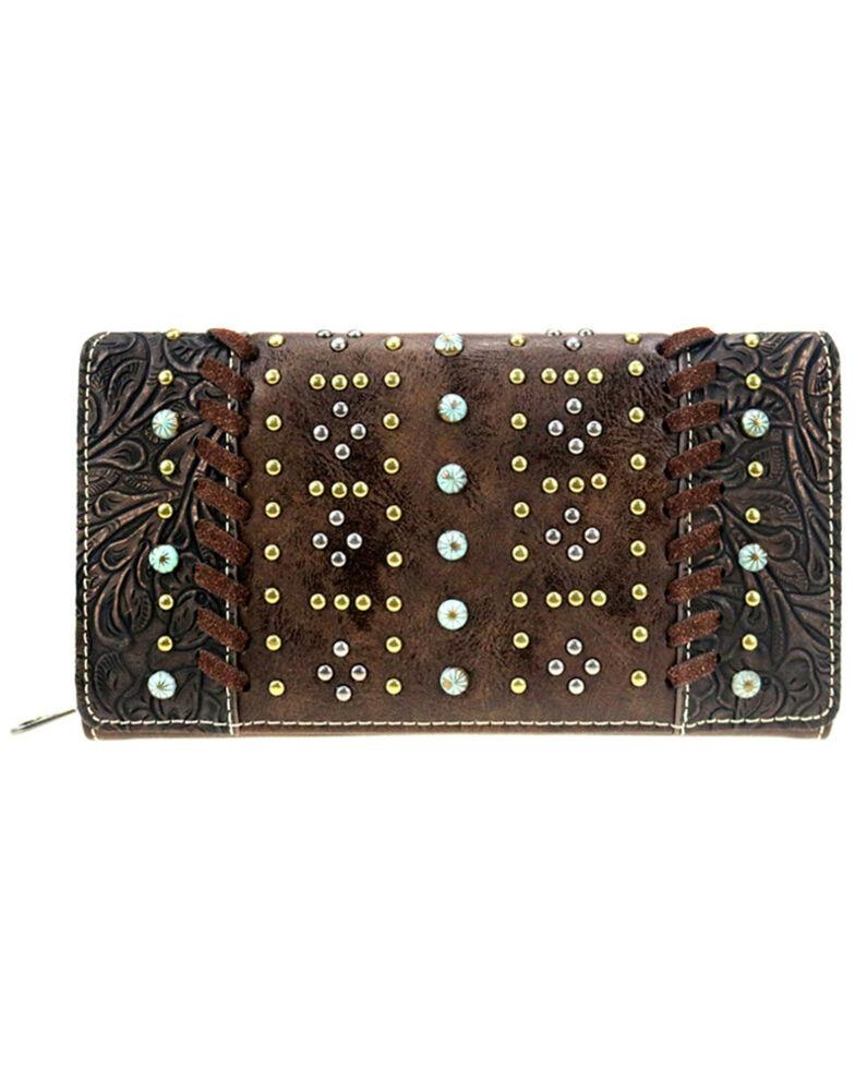 Miss Me Women's Metallic Tooled Wallet, Coffee, hi-res