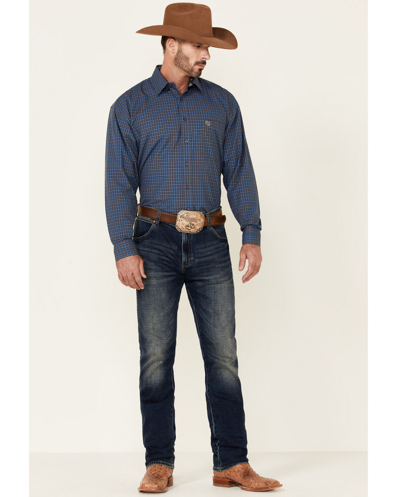 Panhandle Select Men's Grey Small Plaid Long Sleeve Button-Down Western Shirt , Grey, hi-res