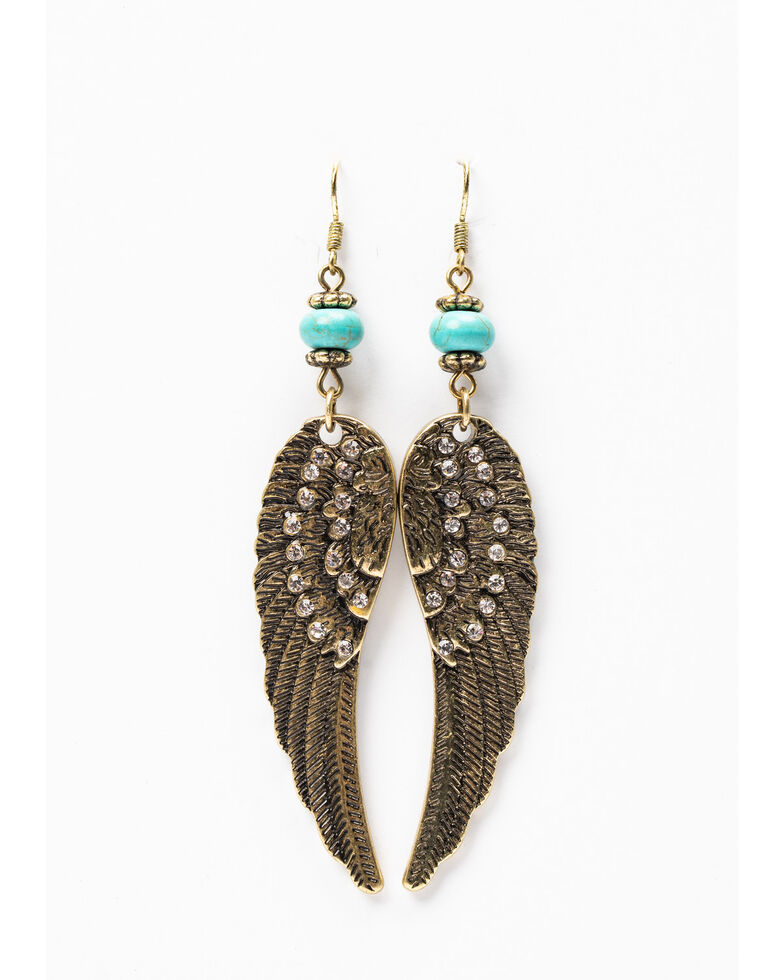 Shyanne Women's Gilded Gold Wing Earrings, Gold, hi-res