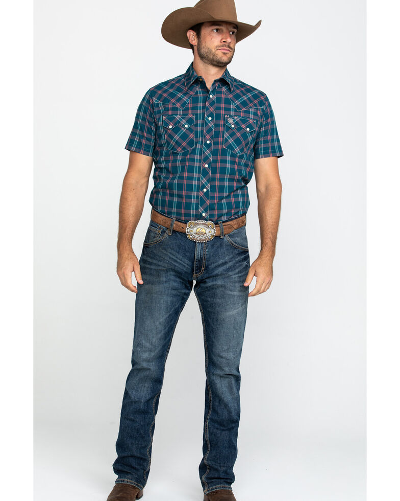 Wrangler Retro Men's Teal Med Plaid Short Sleeve Western Shirt , Teal, hi-res