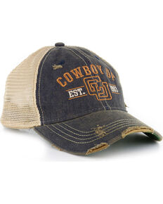 Cowboy Up Distressed Vintage Trucker Ball Cap, Chocolate, hi-res