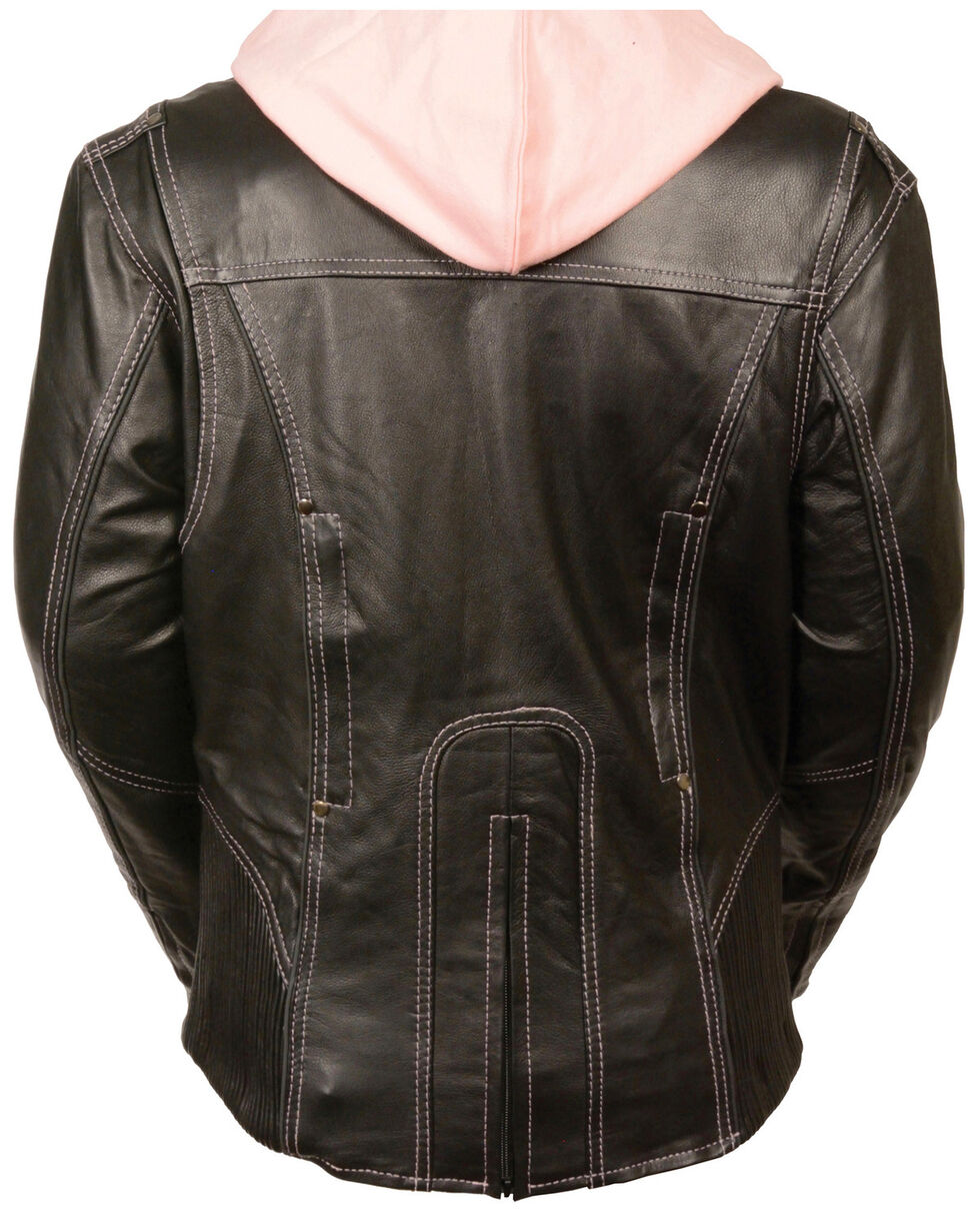 Milwaukee Leather Women's 3/4 Jacket With Reflective Tribal Detail , Pink/black, hi-res