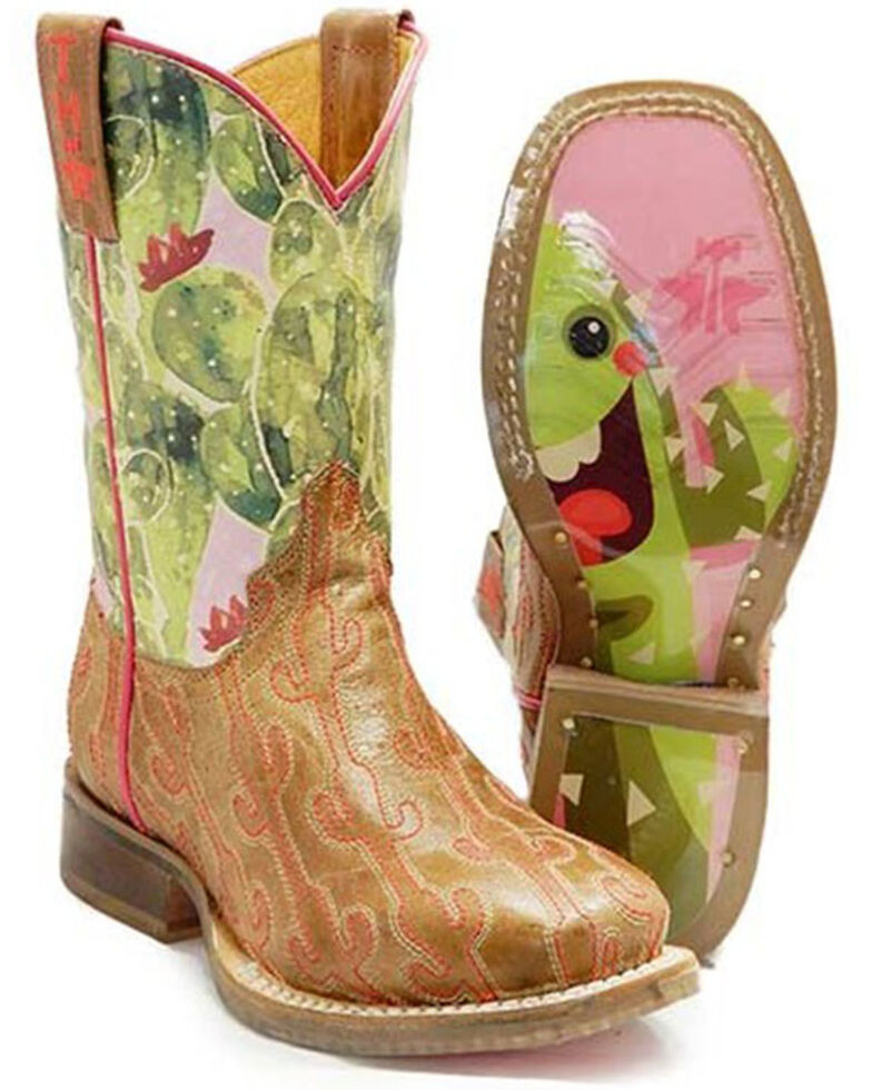 Tin Haul Girls' Cactus Stitch Western Boots - Square Toe, Brown, hi-res