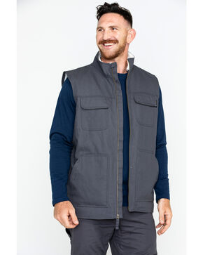 Hawx Men's Canvas Work Vest - Big & Tall , Charcoal, hi-res