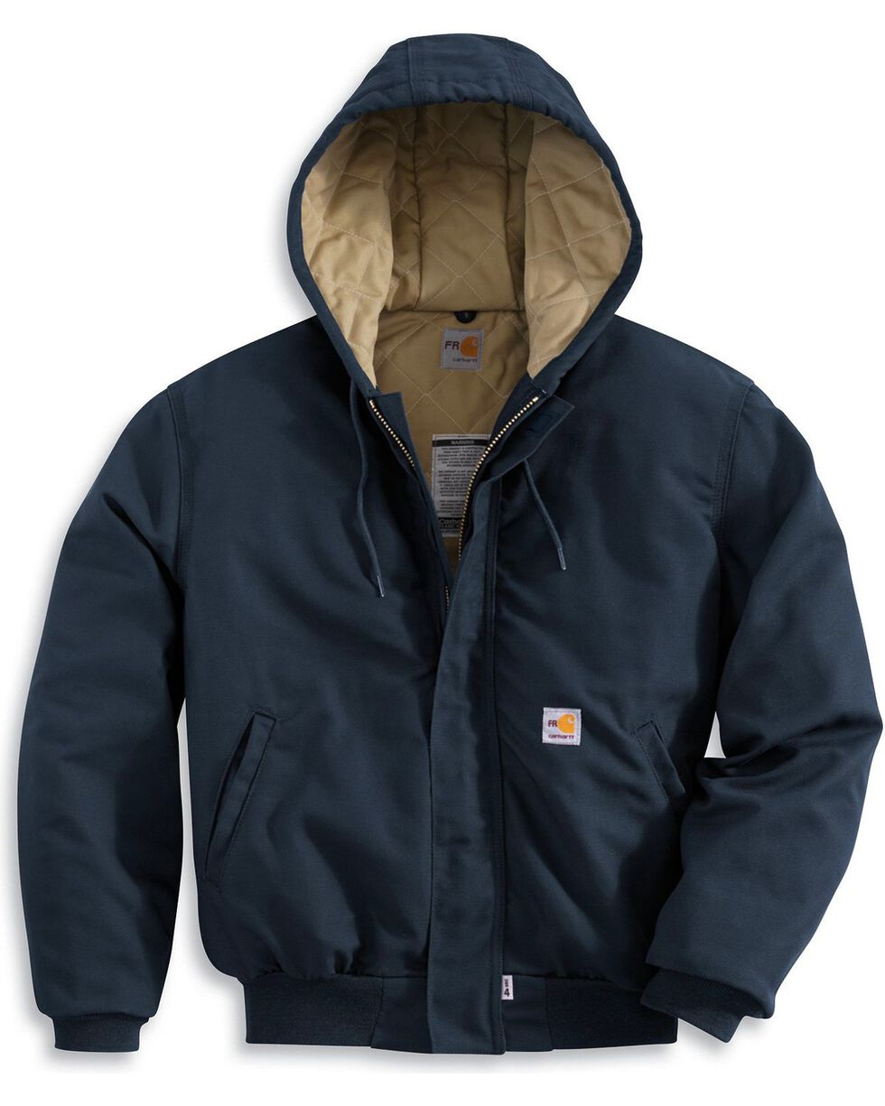 Carhartt Flame-Resistant Midweight Active Hooded Jacket, Navy, hi-res