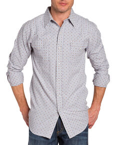 Resistol Double Men's Afton Check Long Sleeve Shirt, White, hi-res