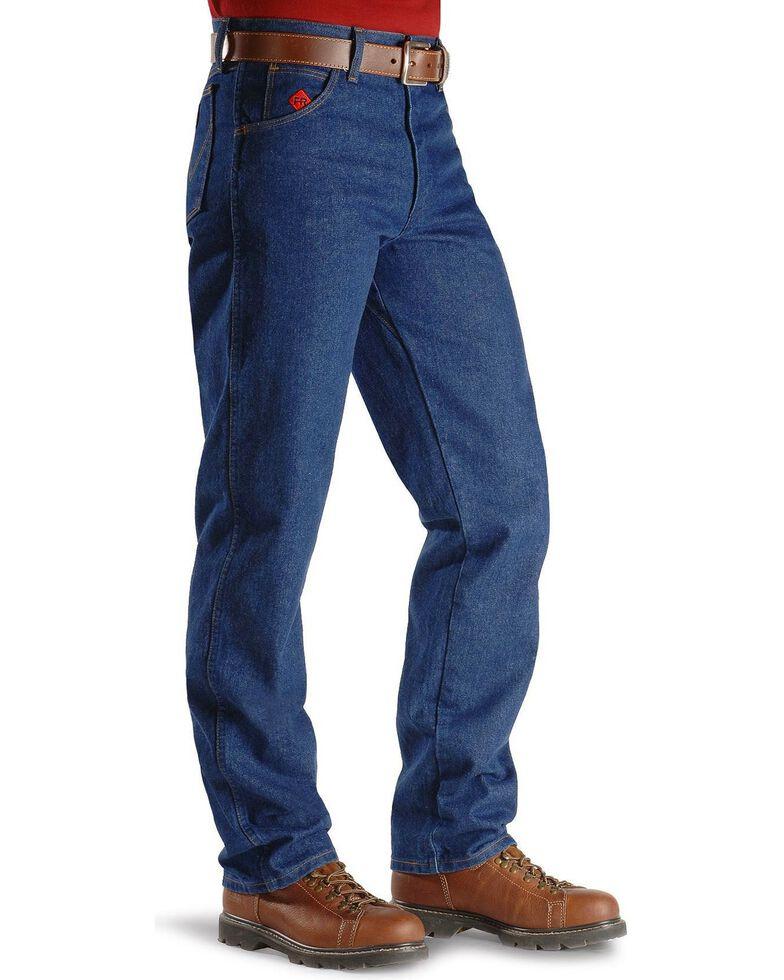 4589c2e1 Zoomed Image Wrangler Men's Relaxed Flame Resistant Jeans, Denim, hi-res