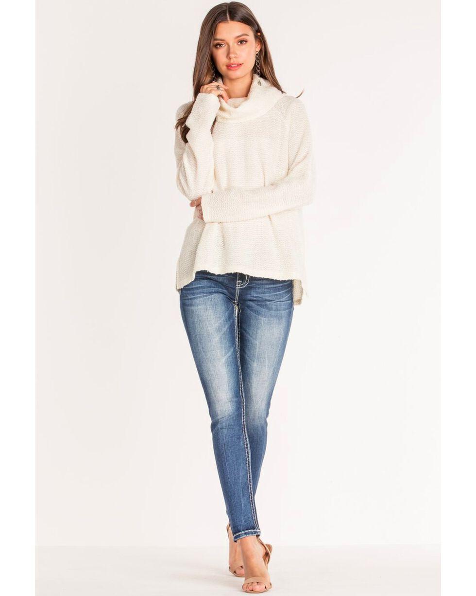 Miss Me Women's Basic Flap Embroidered Border Skinny Jeans , Blue, hi-res