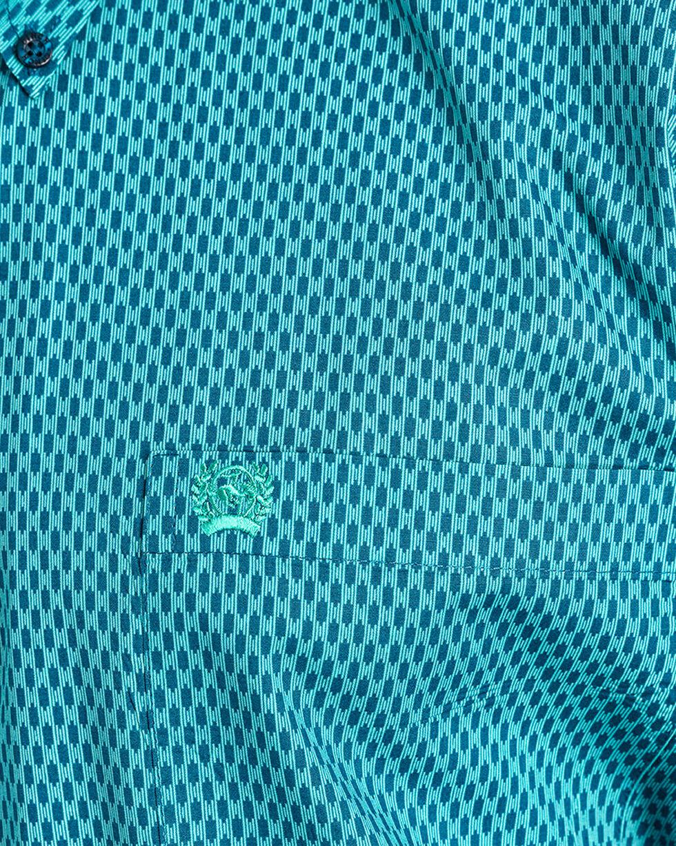 Cinch Men's Match Dad Turquoise Dash Geometric Print Western Shirt , Navy, hi-res