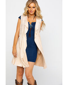 Vocal Women's Faux Suede Draped Tonal Embroidered Long Vest  , Ivory, hi-res