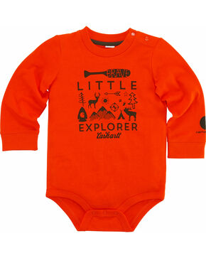 Carhartt Infant Boys' Little Explorer Onesie, Orange, hi-res