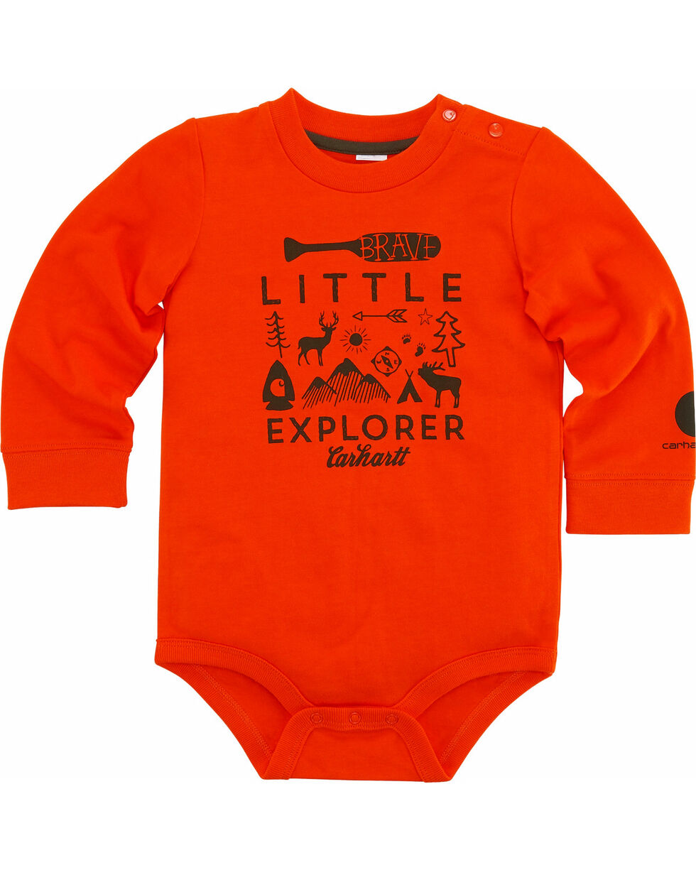 Carhartt Infant Boys' Little Explorer Bodyshirt, Orange, hi-res