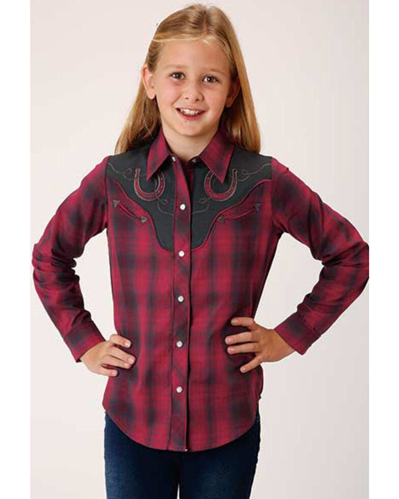 Roper Girls' Red Plaid Horseshoe Long Sleeve Western Shirt, Red, hi-res