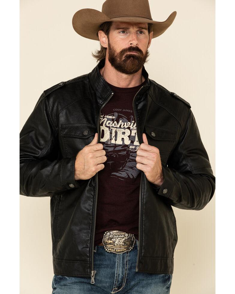 Cody James Men's Black Backwoods Distressed Faux Leather Moto Jacket - Tall , Black, hi-res