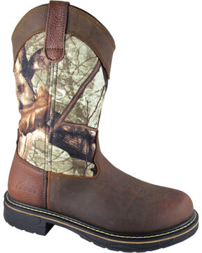 Smoky Mountain Men's Stage Camo Wellington Work Boots - Round Toe, Crazyhorse, hi-res