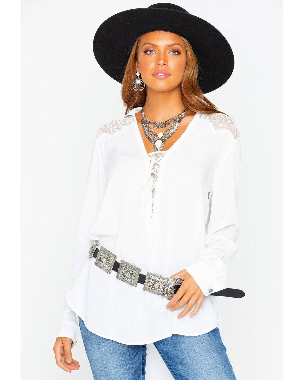 Tasha Polizzi Women's Willow Faux Silk Lace-Up Long Sleeve Top, Ivory, hi-res
