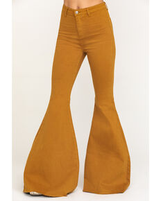 By Together Women's Extra Flare Pants  , Mustard, hi-res
