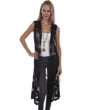 Honey Creek by Scully Women's Ivory Lace Duster, Black, hi-res