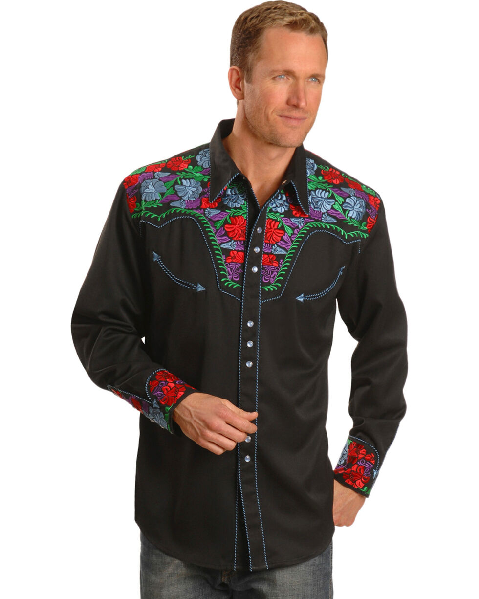 Scully Men's Retro Gunfighter Western Shirt, Blue, hi-res
