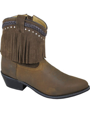 Smoky Mountain Torrance Brown Fringe Booties - Pointed Toe, Brown, hi-res