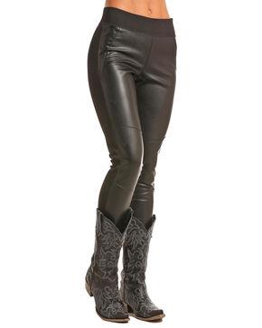 Rock & Roll Cowgirl Women's Black Faux Leather Leggings , Black, hi-res