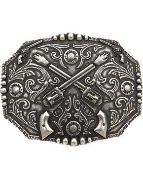 Cody James®  Men's Dual Pistol Belt Buckle, Silver, hi-res
