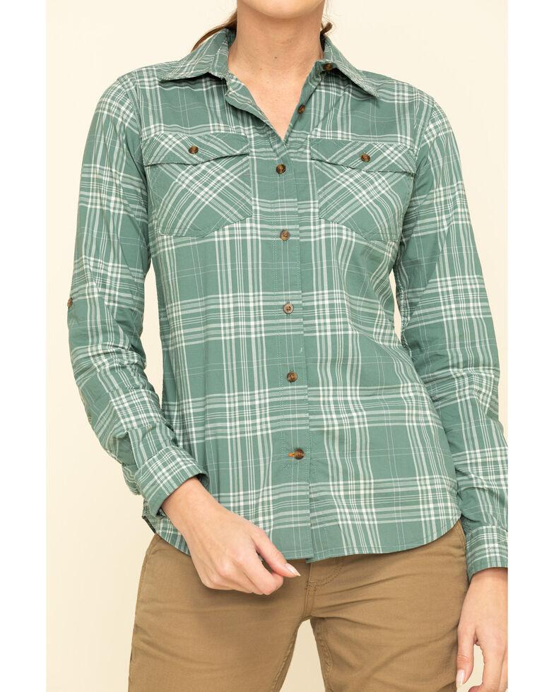 Carhartt Women's Musk Green Rugged Flex Plaid Long Sleeve Work Shirt , Green, hi-res