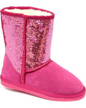 Dije California Girls' Sequin Sheepskin Classic Boots, Pink, hi-res
