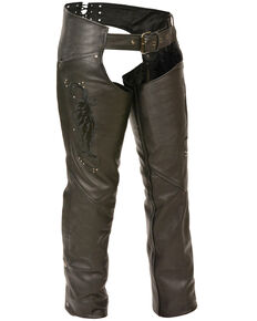 Milwaukee Leather Women's Embroidered Wing & Rivet Leather Chaps - 5X, Black, hi-res