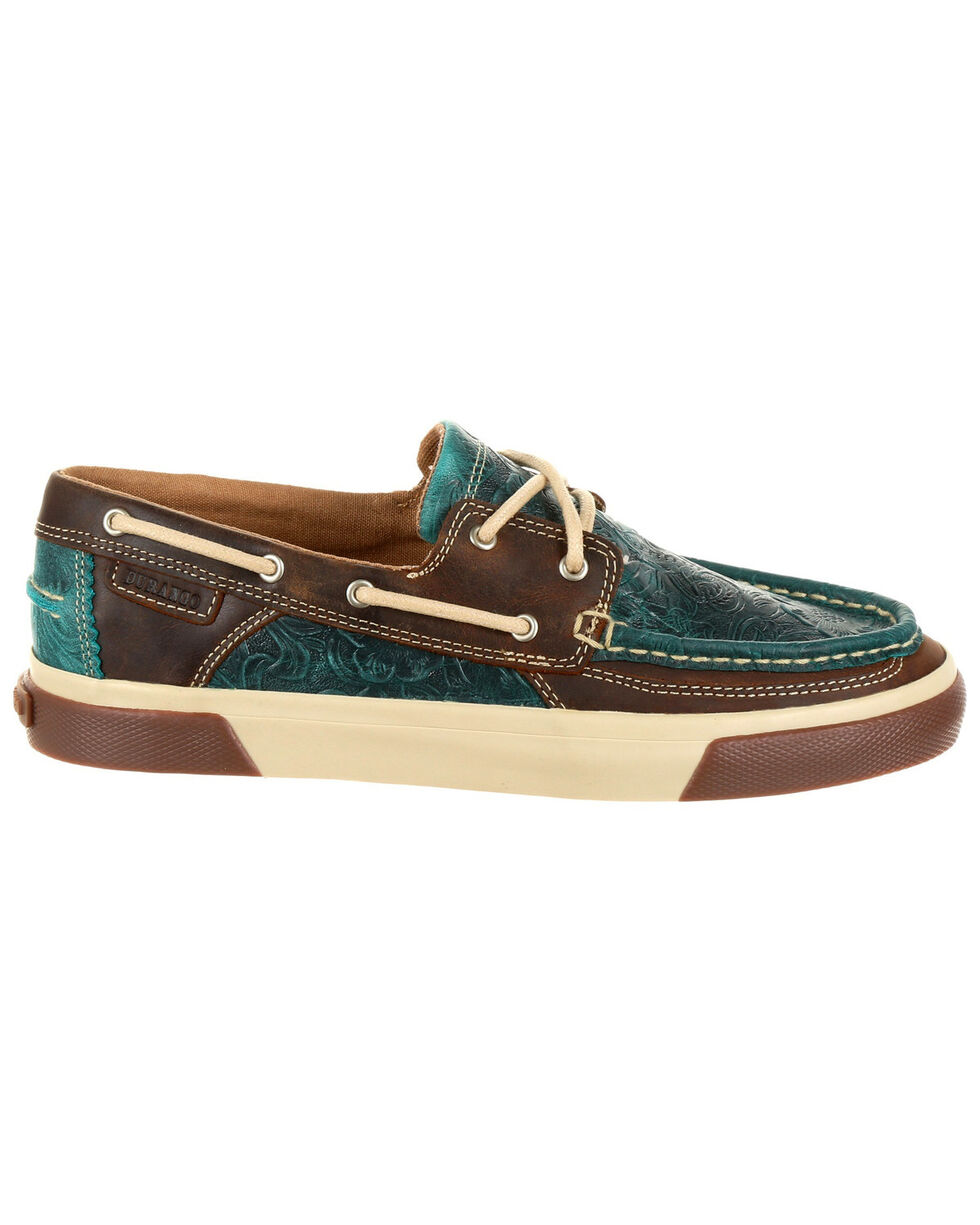Durango Women's Music City Western Boat Shoes - Moc Toe, Turquoise, hi-res