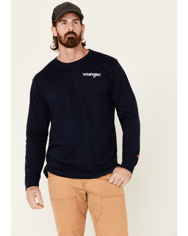 Wrangler FR Men's Navy Flag Graphic Long Sleeve Work Shirt , Navy, hi-res