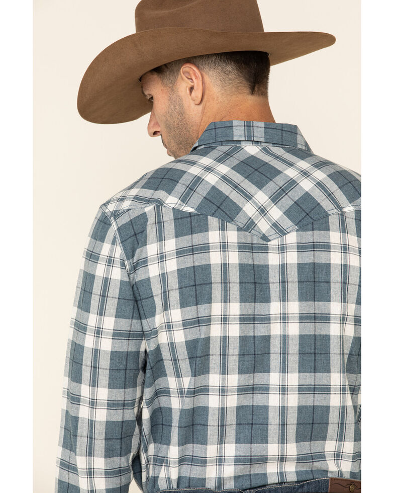 Cody James Men's Static Large Plaid Long Sleeve Western Shirt , Cream/blue, hi-res