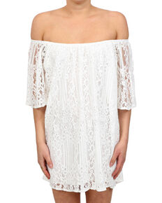Glam Women's White Mojave Off The Shoulder Dress , White, hi-res