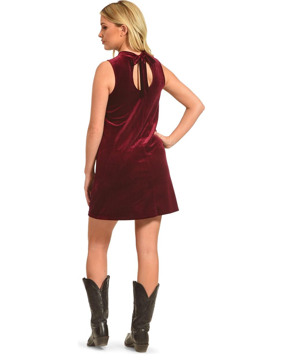 Others Follow Women's High Neck Velvet Shift Dress, Burgundy, hi-res