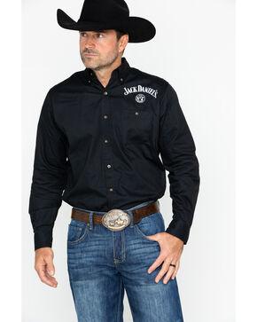 Jack Daniels Western Woven Solid Twill Shirt , Black, hi-res