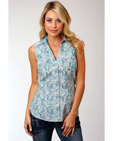Amarillo Women's Desert Sky Blue Paisley Sleeveless Western Shirt, Blue, hi-res