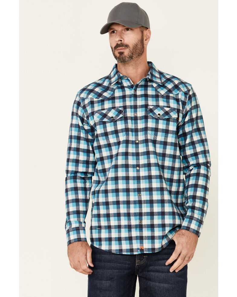 Cody James Men's FR Teal Plaid Long Sleeve Work Shirt , Teal, hi-res