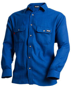 Tecgan Men's Grey Solid FR Long Sleeve Work Shirt - Big , Royal Blue, hi-res