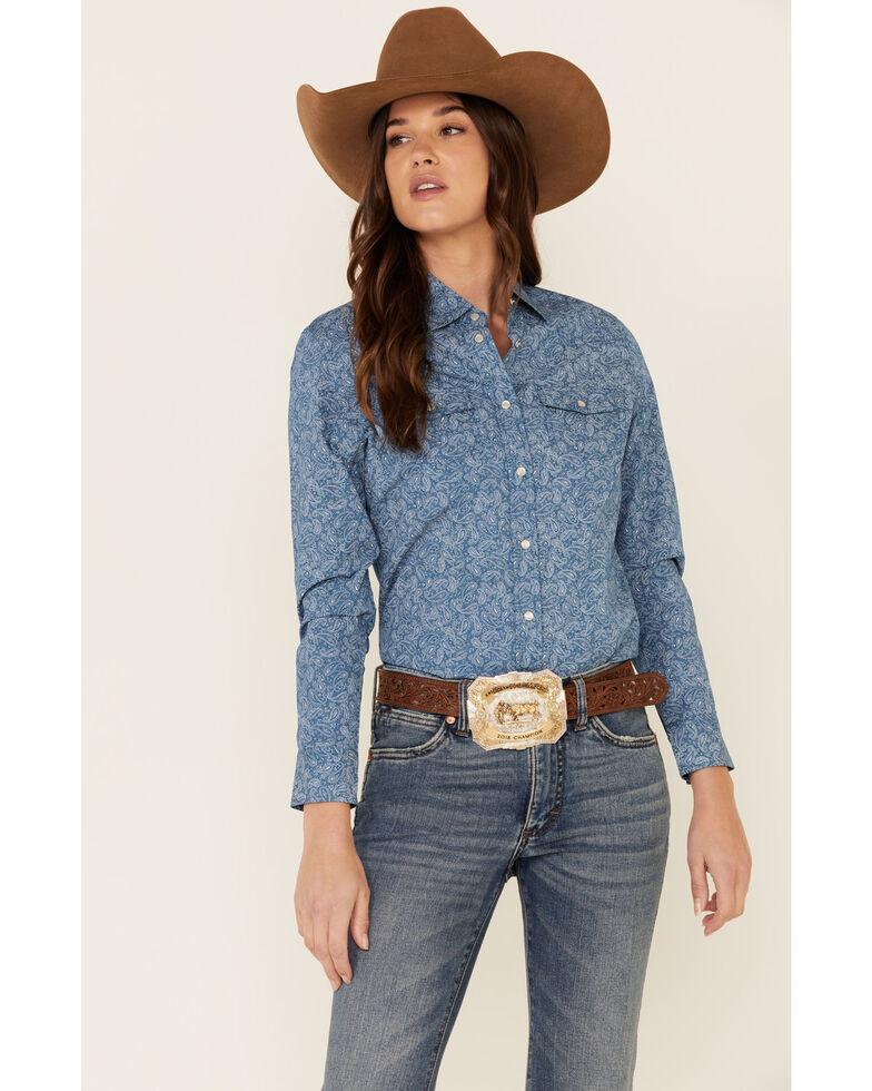 Ely Walker Women's Denim Paisley Print Long Sleeve Snap Western Core Shirt , Blue, hi-res