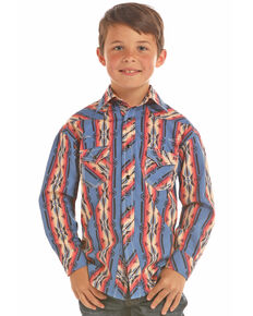 Rock & Roll Cowboy Boys' Poplin Aztec Print Snap Long Sleeve Western Shirt , Multi, hi-res