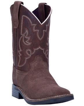 Dan Post Boys' Davie Western Boots - Wide Square Toe, Brown, hi-res